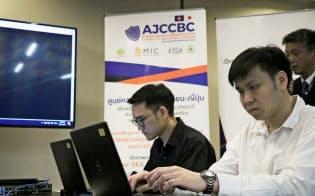 ASEANでサイバー防衛人材の育成が課題になっている(9月14日、バンコクで公開した演習の様子)