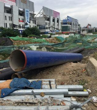 地下鉄工事の準備が進む江蘇省蘇州市