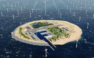 北海の真ん中で建設構想が進む電力ハブ人工島の完成イメージ。港湾設備や飛行場も備える