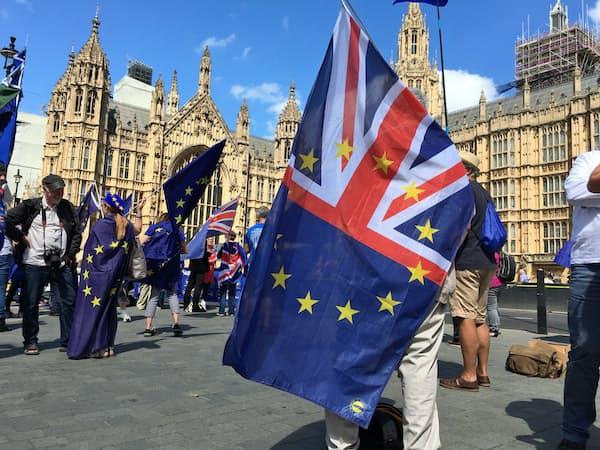 ブレグジットの是非で世論が割れる英国。足元では残留派がやや優勢だが、離脱派も4割に達する。(写真は国会前の残留派の集会)