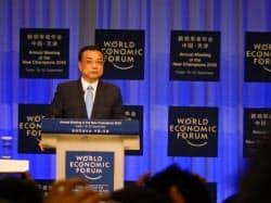 マクロ経済運営で慎重な発言が目立った(19日、中国・天津)