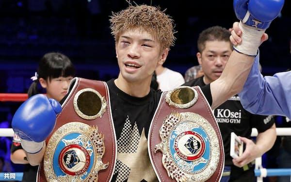WBOフライ級タイトルマッチで判定勝ちした田中恒成。世界3階級制覇を達成した(24日午後、名古屋市の武田テバオーシャンアリーナ)=共同