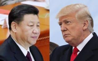 中国の習近平国家主席(左)と、トランプ米大統領(AP)