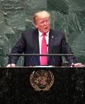 25日、国連総会の一般討論で演説するトランプ米大統領=ニューヨーク(ロイター=共同)