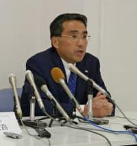 新潟市内で会見した星野圭二郎・新潟三越伊勢丹社長