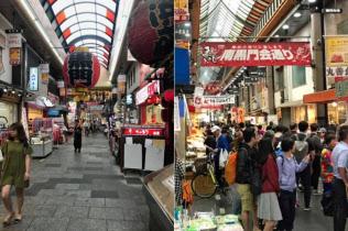 関空の機能が停止した直後は閑散としていた黒門市場(7日、写真左)も人通りが回復してきた(25日)