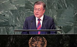 26日、国連総会で演説する韓国の文在寅大統領=ロイター