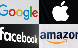 米IT大手はテックラッシュ対策の人材を求めている。(左上から時計回りに)グーグル、アップル、アマゾン、フェイスブックのロゴ