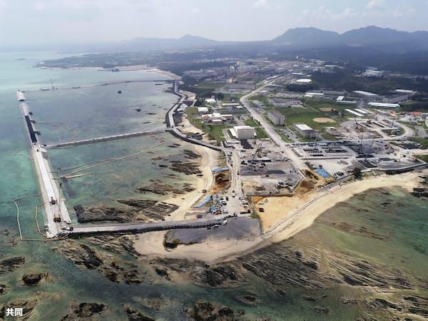 米軍普天間基地の移設工事が進む沖縄県名護市辺野古の沿岸部=共同