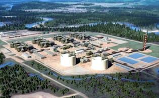 三菱商事などがカナダに建設するLNGプラントの完成予想図