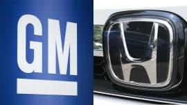 GM(左)とホンダのロゴ