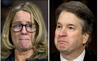 9月27日、米上院の公聴会で性的暴行疑惑を巡って証言したフォード教授(左)と、疑惑を否定した連邦最高裁判所の判事候補、カバノー氏=ロイター