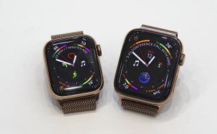 米アップルのスマートウオッチ「アップルウオッチ:の最新版「シリーズ4」。ケースの大きさは40ミリと44ミリの2製品がある