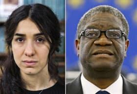 ノーベル平和賞の受賞が決まった、性暴力根絶を訴える活動を続けているナディア・ムラドさん(左)と性暴力を受けた女性の治療に尽力してきたデニ・ムクウェゲ医師=ロイター