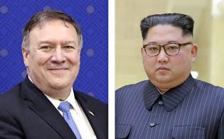 ポンペオ米国務長官(左)と北朝鮮の金正恩委員長(朝鮮通信=共同)