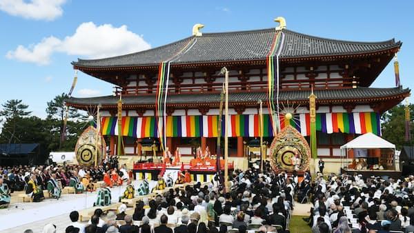興福寺中金堂で落慶法要 300年ぶりに再建