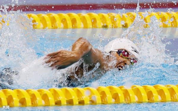 女子200メートル自由形(知的障害S14)決勝 優勝した北野安美紗(7日、ジャカルタ)=共同