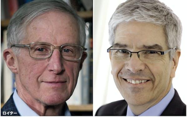 ノーベル経済学賞に決まったノードハウス氏(左)とローマー氏=ロイター