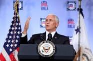 ペンス米副大統領は「トランプ大統領は中国に決して屈しない」と断言した(4日、ワシントン)=ロイター