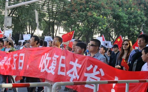 「日本を中国の一つの省(地方)として領土化せよ」という過激なスローガンまで出た反日デモから6年、安倍首相の公式訪中が決まった(2012年9月、北京で)