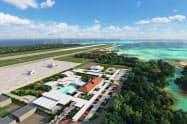 19年3月に下地島空港の旅客ターミナルが開業する(イメージ図、三菱地所提供)