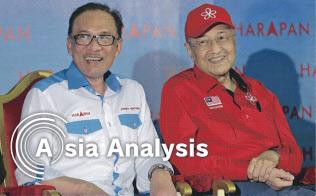 マハティール氏(右)とアンワル氏は20年ぶりに政治集会で顔をそろえた(10月8日、マレーシア中部のポート・ディクソン選挙区)=AP
