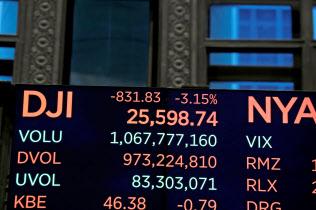 米国株の急落を伝える?#34928;濠`ヨーク証券取引所の株価ボード=ロイター