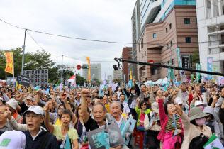 台湾独立派はデモで蔡政権を批判した(20日午後、台北市内)