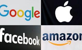 米IT大手はテックラッシュ対策の人材を求めている。左上から時計回りにグーグル、アップル、アマゾン、フェイスブックのロゴ