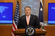 23日、ポンペオ米国務長官はサウジ人記者の死亡事件を「恐ろしい行為以外の何物でもない」と非難した(ワシントン)=ロイター
