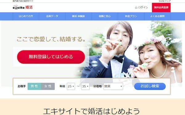 エキサイトは婚活サイトなどを運営する