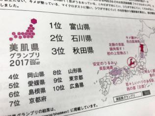2017年の「ニッポン美肌県グランプリ」は富山県が1位だった
