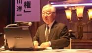 名古屋日経懇話会で講演する芹川洋一日本経済新聞論説フェロー(30日午後、名古屋市)