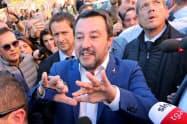 イタリアの極右、同盟党首のサルビーニ副首相=ロイター