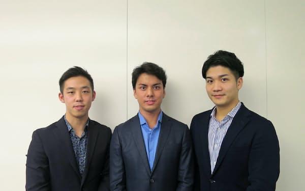 セブンウッズは20代のファンドマネージャーで構成する。左からショーン・チャオ氏、笠井玲央氏、馬場崎聡氏