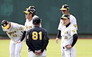 阪神の矢野監督(手前右)と清水ヘッドコーチ(同左)は中日時代の同僚だ=共同