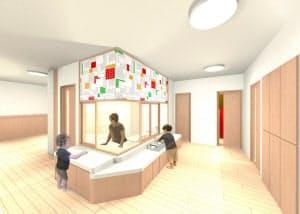 カゴメが設立する保育所のイメージ。中央にオープンキッチンを設ける