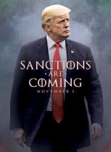 トランプ米大統領はイラン制裁の完全復活を強調する画像をツイッターに投稿した