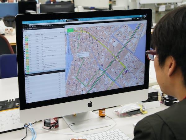 路線バスの位置情報システムを開発している(東京都品川区のユニリタR&Dセンター)