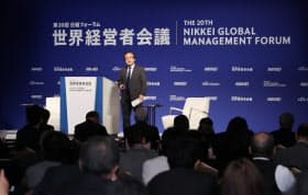 日本経済新聞社の関口編集委員のオープニングセッションで始まった世界経営者会議(6日午前、東京都千代田区)