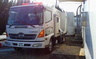災害時に備えて導入されたNTT西日本の移動電源車=同社提供、一部画像処理しています