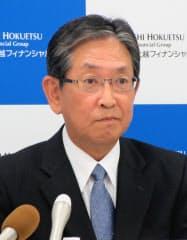北越銀行の佐藤勝弥頭取(9日、新潟市)