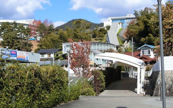 安田女子大は高台に建つキャンパスに通学しやすいよう、エスカレーターを備えた駅直結の屋根付き通学路を設置している
