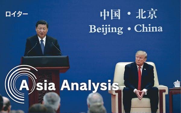 中国による米国産LNGの輸入拡大は、貿易不均衡改善の切り札と期待されたが……(2017年11月、北京での米中首脳会談)=ロイター