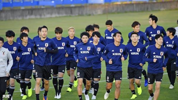 サッカー日本代表、全23選手そろい練習 16日にベネズエラ戦