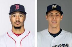 レッドソックスのベッツ外野手、ブルワーズのイエリチ外野手=ゲッティ共同