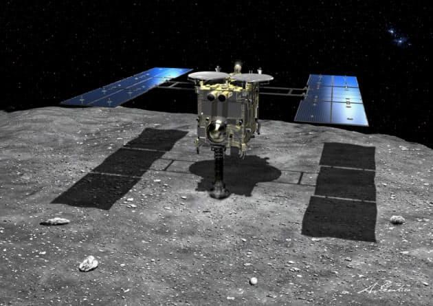 りゅうぐう到着前に描かれた想像図。当初、表面は月面のように滑らかだと考えられていた=池下章裕氏・JAXA提供