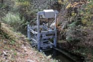 エリスが建設した高効率の小水力発電施設(16日、岡山県津山市)