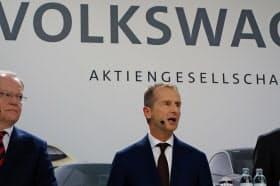 VWのディース社長はEVへの移行に自信を見せる(16日、独ウォルフスブルクのVW本社)