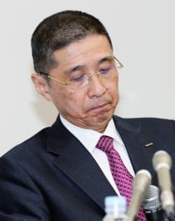 記者会見する日産自動車の西川広人社長(19日午後、横浜市西区)